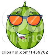 Clipart Of A Happy Watermelon Character Mascot Wearing Sunglasses Royalty Free Vector Illustration