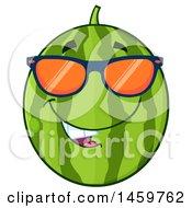 Happy Watermelon Character Mascot Wearing Sunglasses