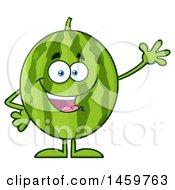 Clipart Of A Happy Watermelon Character Mascot Waving Royalty Free Vector Illustration