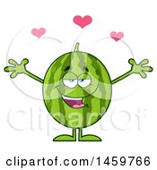 Poster, Art Print Of Loving Watermelon Character Mascot With Open Arms