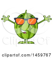 Clipart Of A Welcoming Watermelon Character Mascot With Open Arms And Sunglasses Royalty Free Vector Illustration
