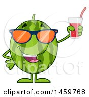 Poster, Art Print Of Happy Watermelon Character Mascot Holding A Glass Of Juice