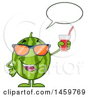 Clipart Of A Happy Watermelon Character Mascot Talking And Holding A Glass Of Juice Royalty Free Vector Illustration