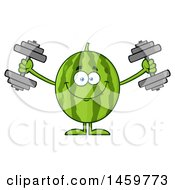 Clipart Of A Happy Watermelon Character Mascot Working Out With Dumbbells Royalty Free Vector Illustration