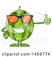 Happy Watermelon Character Mascot Wearing Sunglasses And Giving A Thumb Up