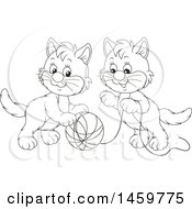 Clipart Of Black And White Kittens Playing With A Ball Of Yarn Royalty Free Vector Illustration