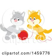 Clipart Of Gray And Orange Kittens Playing With A Ball Of Yarn Royalty Free Vector Illustration