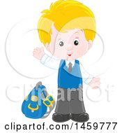 Clipart Of A Happy School Boy Waving And Waiting At A Bus Stop Royalty Free Vector Illustration