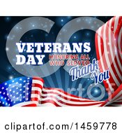 3d Waving American Flag With Veterans Day Honoring All Who Served Thank You Text And Blue Sparkles And Rays