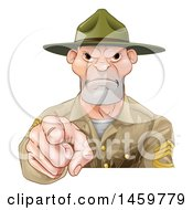 Clipart Of A Mad Male Army Boot Camp Drill Sergeant Pointing At You Royalty Free Vector Illustration