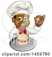 Clipart Of A Cartoon Happy Full Length Black Male Chef Holding A Cupcake On A Platter And Gesturing Perfect Royalty Free Vector Illustration by AtStockIllustration