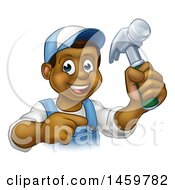 Cartoon Happy Black Male Carpenter Holding A Hammer And Pointing