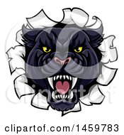 Clipart Of A Vicious Black Panther Breaking Through A Wall Royalty Free Vector Illustration by AtStockIllustration