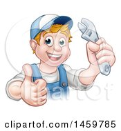 Poster, Art Print Of Cartoon Happy White Male Plumber Wearing A Hat Holding An Adjustable Wrench And Giving A Thumb Up