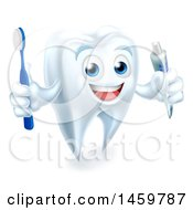Clipart Of A 3d Smiling White Tooth Character Holding A Toothbrush And Tube Of Toothpaste Royalty Free Vector Illustration