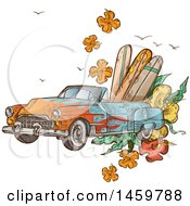 Sketched Vintage Convertible Car With Surf Boards And Flowers