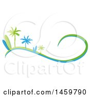 Clipart Of A Green And Blue Palm Tree And Surfboard Design With A Wave Royalty Free Vector Illustration by Domenico Condello