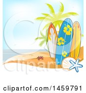 Poster, Art Print Of Tropical Beach With A Crab Palm Trees And Surfboards Over Text Space