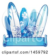 Clipart Of A Palm Tree And Blue Surfboard Design With A Ribbon Banner Royalty Free Vector Illustration