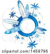 Clipart Of A Palm Tree And Surfboard Design With A Globe Royalty Free Vector Illustration by Domenico Condello