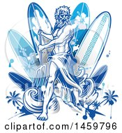 Poster, Art Print Of Poseidon And Surfboard Design