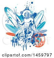 Clipart Of A Poseidon And Surfboard Design Royalty Free Vector Illustration