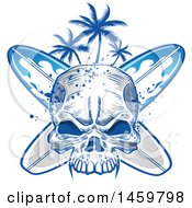 Poster, Art Print Of Human Skull Palm Tree And Surfboard Design
