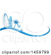 Clipart Of A Blue Palm Tree And Surfboard Design With A Wave Royalty Free Vector Illustration by Domenico Condello