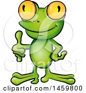 Clipart Of A Cartoon Frog Giving A Thumb Up Royalty Free Vector Illustration by Domenico Condello