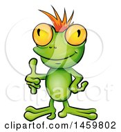 Clipart Of A Cartoon Frog Punk With An Orange Mohawk Giving A Thumb Up Royalty Free Vector Illustration by Domenico Condello