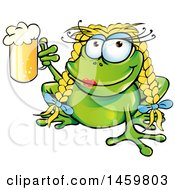 Cartoon Female Oktoberfest Frog Holdign Up A Beer