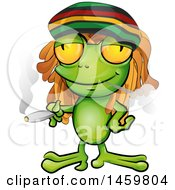 Cartoon Jamaican Rasta Frog Smoking A Marijuana Joint