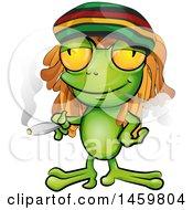 Clipart Of A Cartoon Jamaican Rasta Frog Smoking A Marijuana Joint Royalty Free Vector Illustration by Domenico Condello #COLLC1459804-0191