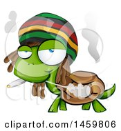 Clipart Of A Cartoon Jamaican Rasta Tortoise Smoking A Marijuana Joint Royalty Free Vector Illustration