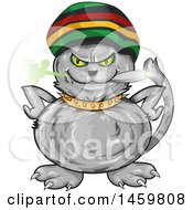 Cartoon Jamaican Rasta Cat Smoking A Marijuana Joint