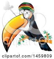 Clipart Of A Cartoon Jamaican Rasta Toucan Bird Smoking A Marijuana Joint Royalty Free Vector Illustration
