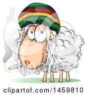 Clipart Of A Cartoon Jamaican Rasta Sheep Smoking A Marijuana Joint Royalty Free Vector Illustration