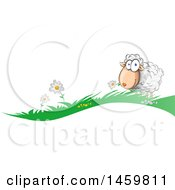 Clipart Of A Cartoon Grass And Happy Sheep Border Royalty Free Vector Illustration by Domenico Condello