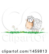 Cartoon Grass And Happy Sheep Border