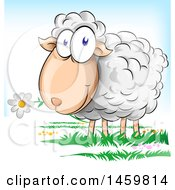 Clipart Of A Cartoon Sheep Eating A Flower Royalty Free Vector Illustration by Domenico Condello