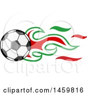 Clipart Of A Soccer Ball With Iranian Flag Flames Royalty Free Vector Illustration