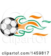 Poster, Art Print Of Soccer Ball With Ivorian Flag Flames