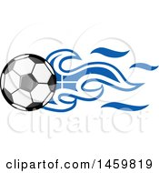 Clipart Of A Soccer Ball With Greek Flag Flames Royalty Free Vector Illustration