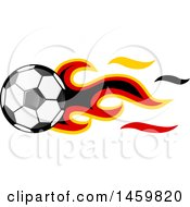 Poster, Art Print Of Soccer Ball With German Flag Flames