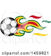 Poster, Art Print Of Soccer Ball With Ghanaian Flag Flames
