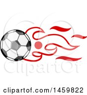 Poster, Art Print Of Soccer Ball With Japanese Flag Flames