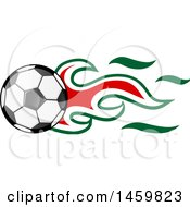 Poster, Art Print Of Soccer Ball With Algerian Flag Flames