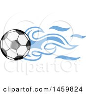Poster, Art Print Of Soccer Ball With Argentine Flag Flames