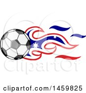 Poster, Art Print Of Soccer Ball With Australian Flag Flames