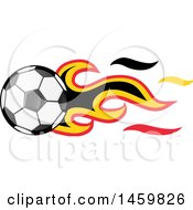 Poster, Art Print Of Soccer Ball With Belgian Flag Flames